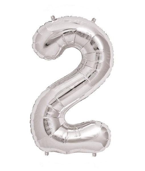 Image of   2-talballon (sølv) 40 cm