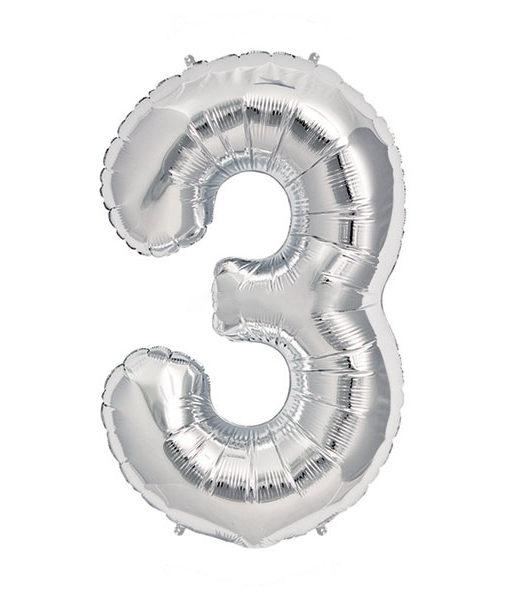 Image of   3-talballon (sølv) 40 cm