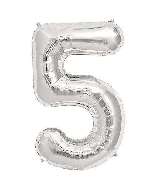 Image of   5-talballon (sølv) 40 cm