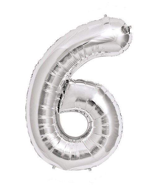Image of   6-talballon (sølv) 40 cm