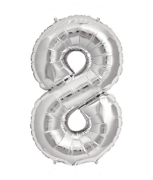 Image of   8-talballon (sølv) 40 cm