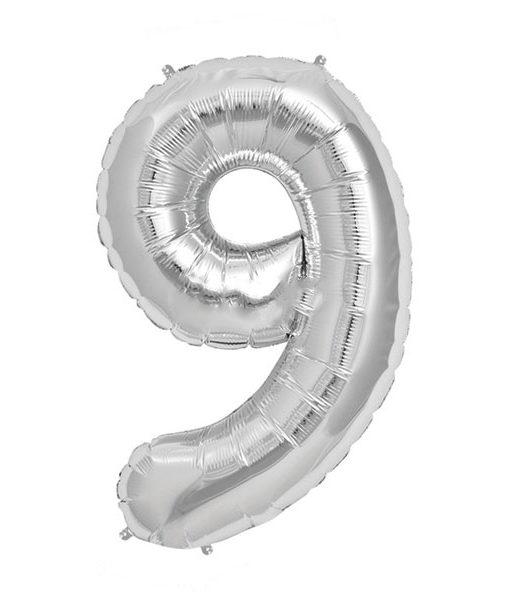 Image of   9-talballon (sølv) 40 cm