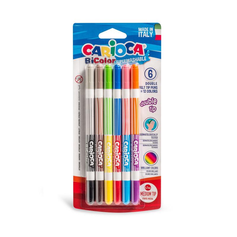Image of   Carioca Dobbelt farve tusser (6 stk)