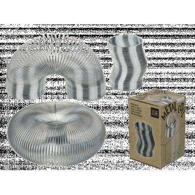 Fidget Toys: Kæmpe Sølvfarvet Slinky Fjeder i fin gaveæske - Ca.11 cm